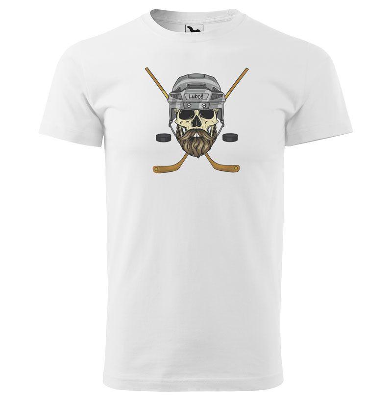 Tričko Hokejová lebka se jménem (pánské) (Jméno: Luboš)